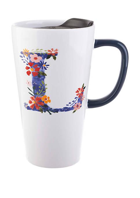 13 Ounce Latte Mug with Lid Monogram L