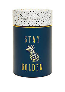 Stay Golden Boxed Stemless Wine Glass