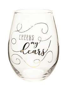 Cheers My Dears Boxed Stemless Wine Glass
