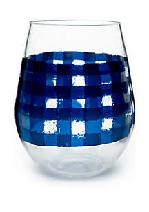 Modern. Southern. Home.™ Blue Gingham Acrylic Stemless Wine Glass