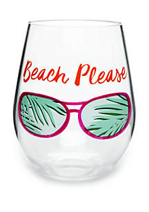 Modern. Southern. Home.™ Beach Please Acrylic Stemless Wine Glass