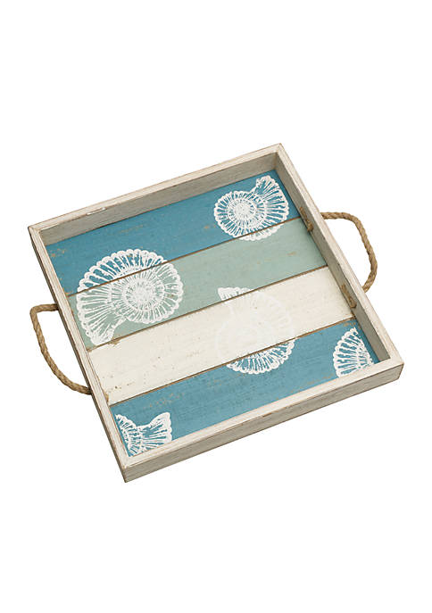 Modern. Southern. Home.™ Square Shell Motif Wood Tray