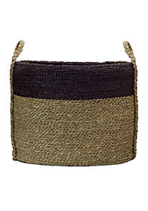 Teal Band Natural Seagrass Basket