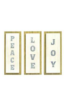 Set of 3 Love, Joy, Peace Wall Art Set