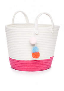 Medium Basket With Pom Poms