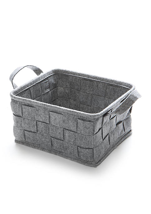 Small Gray Felt Basket