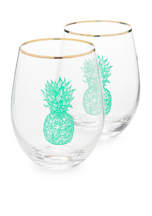 Crown & Ivy™ Green Pineapple Stemless Glasses