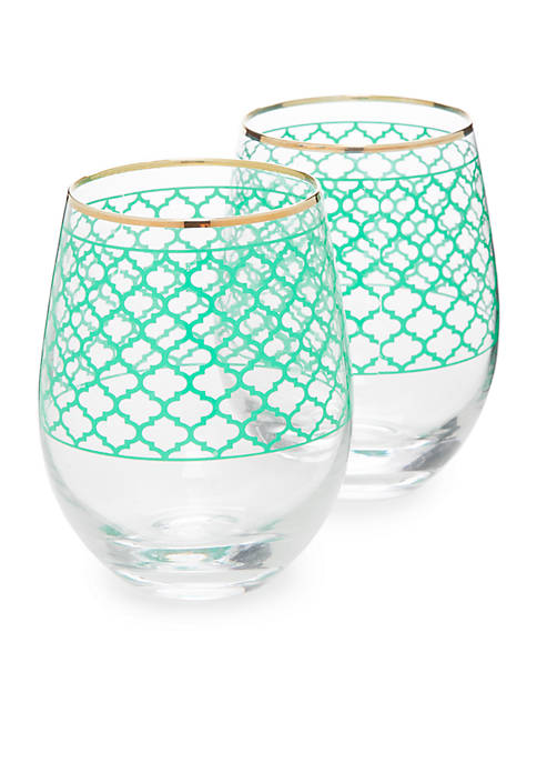 Crown & Ivy™ Trellis Print Stemless Glasses