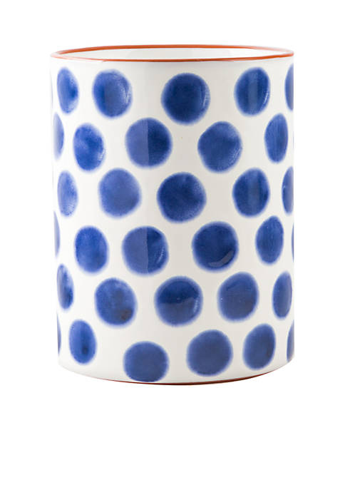 Modern. Southern. Home.™ Blue Dots Round Utensil Crock