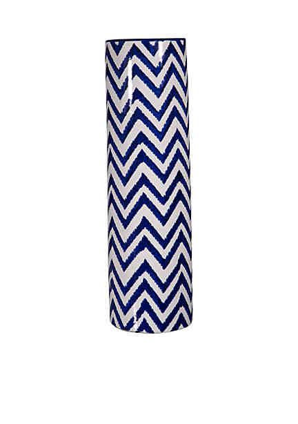 Home blue and white chevron vase