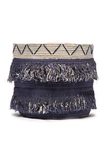 Blue Basket with Fringe