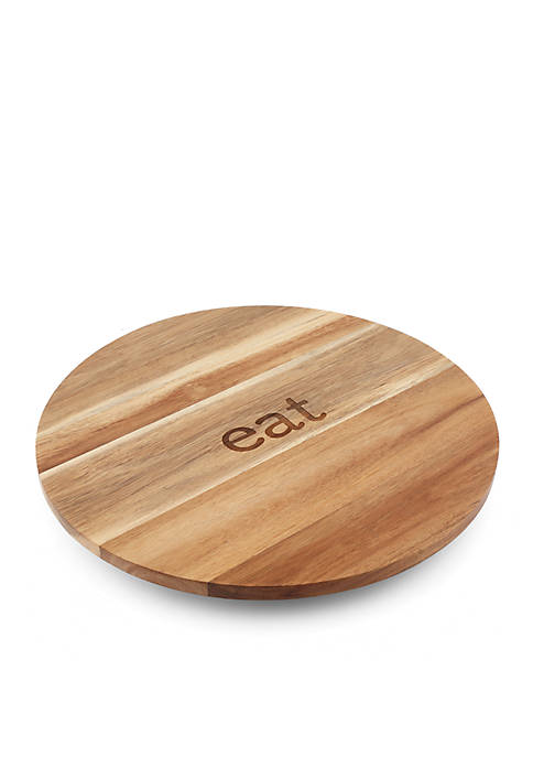 Eat Etched Acacia Wood Lazy Susan