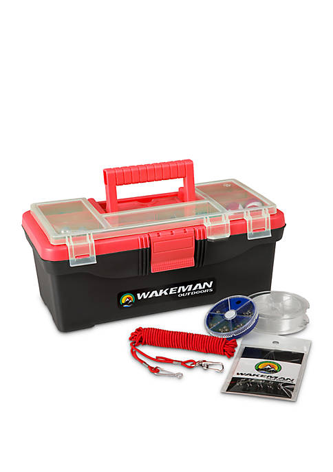 Fishing Single Tray Tackle Box- 55 Piece Tackle Gear Kit
