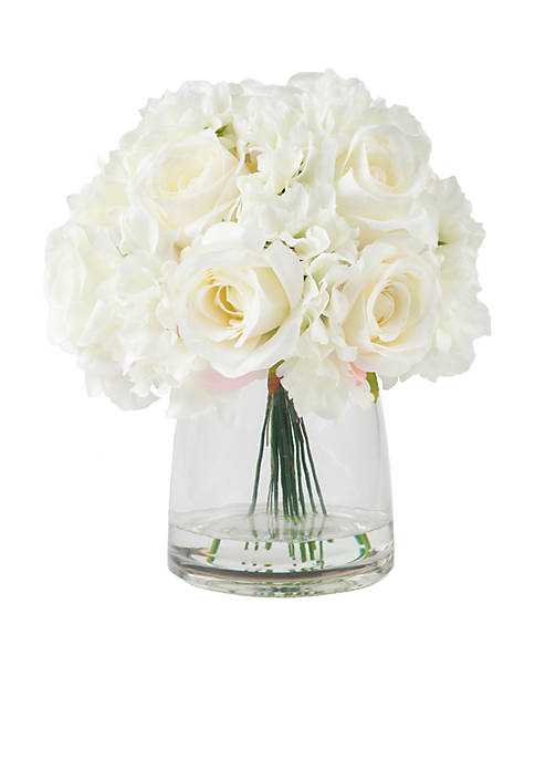 Hydrangea and Rose Floral Arrangement with Vase