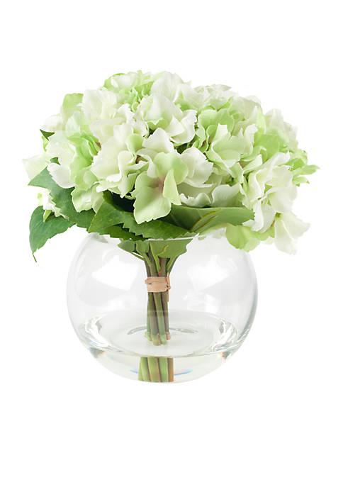 Pure Garden Hydrangea Floral Arrangement with Glass Vase