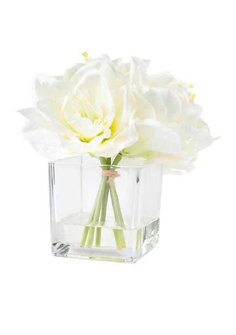 Lily Floral Arrangement with Glass Vase
