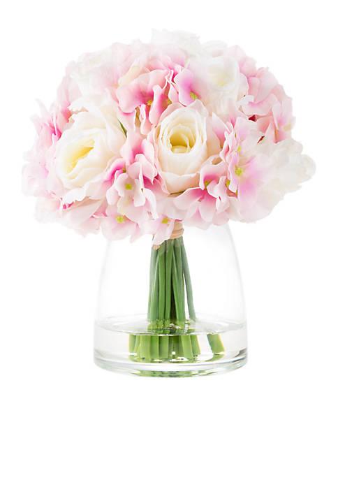 Hydrangea and Rose Artificial Floral Arrangement