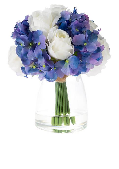 Hydrangea and Rose Artificial Silk Floral Arrangement