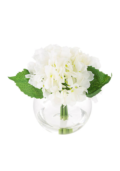 Pure Garden Hydrangea Artificial Floral Arrangement with Vase
