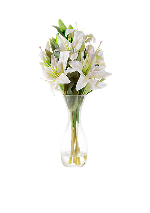 Tall Lily Artificial Floral Arrangement with Vase