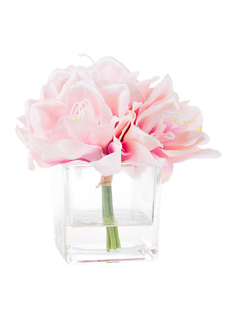 Pure Garden Lily Artificial Floral Arrangement with Vase