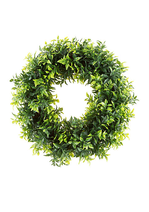 Pure Garden Artificial Opal Basil Leaf Round Wreath