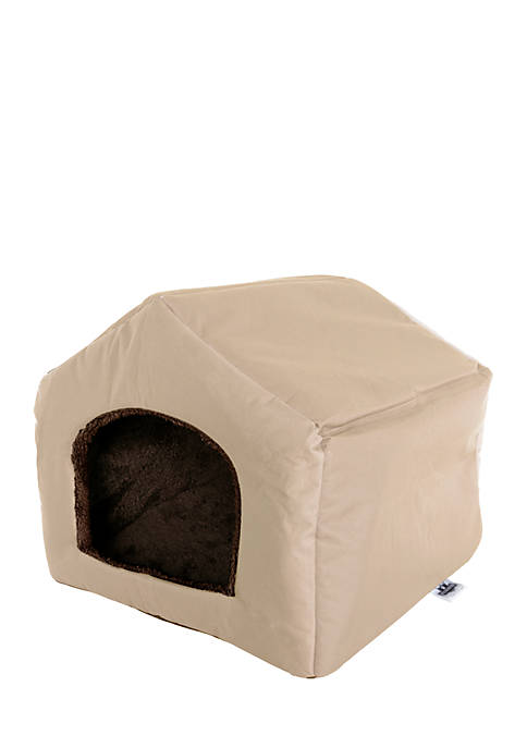 Petmaker Cozy Cottage House Shaped Bed- Tan