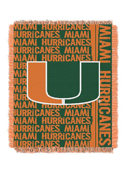 NCAA Miami Hurricanes Double Play Jacquard Woven Throw
