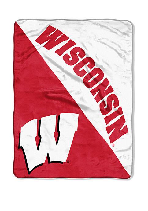 NCAA Wisconsin Badgers Halftone Micro Raschel Throw