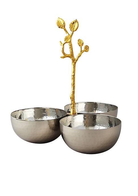 Golden Vine Hammered Triple Bowl