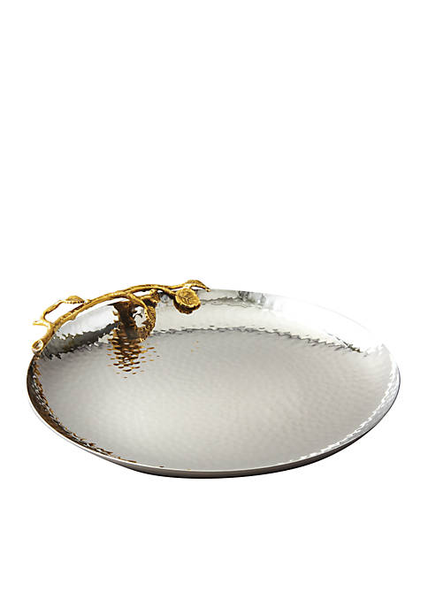Elegance by Leeber Golden Vine Hammered Round Tray