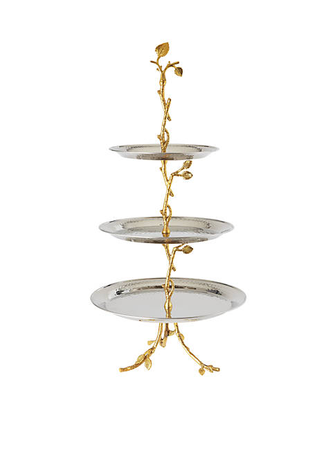 Elegance by Leeber Golden Vine Hammered 3-Tier Server