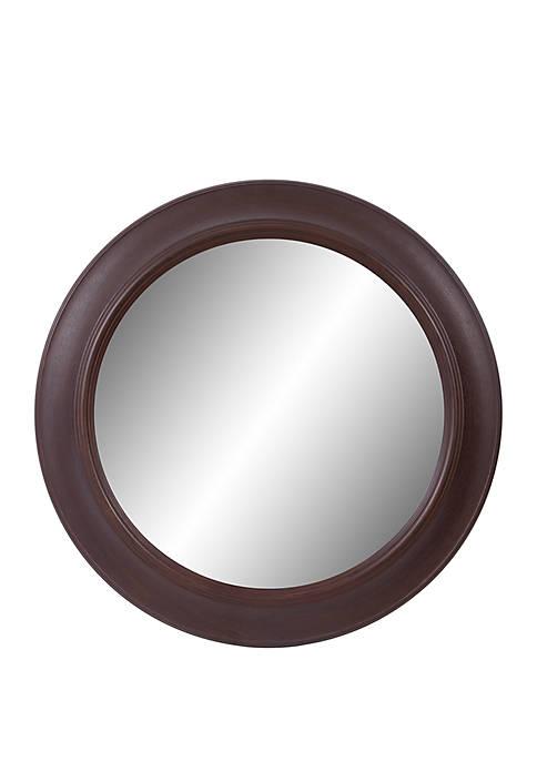 """30"""" Bronze Woodgrain Round Mirror"""