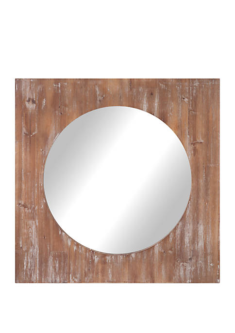 "Patton Picture 36"" Round Distressed Reclaimed Wood Mirror"