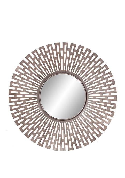 Champagne Round Geometric Sunburst Mirror