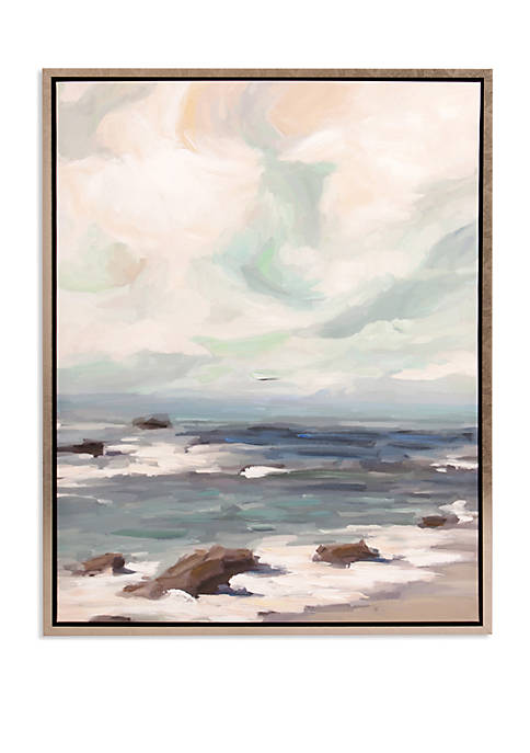 Patton Picture Stormy Shore Coastal Framed Canvas Art