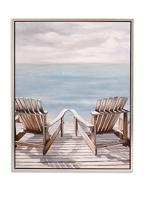 Patton Picture Adirondack Chairs Coastal Framed Canvas Art