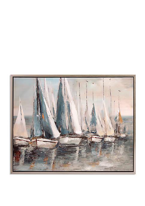 Painterly Sailboats Coastal Framed Canvas Art