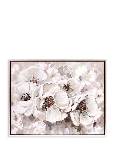 Patton Picture Ivory Flowers Framed Canvas Art