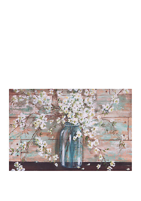 Blooms In Mason Jar Floral Canvas Art