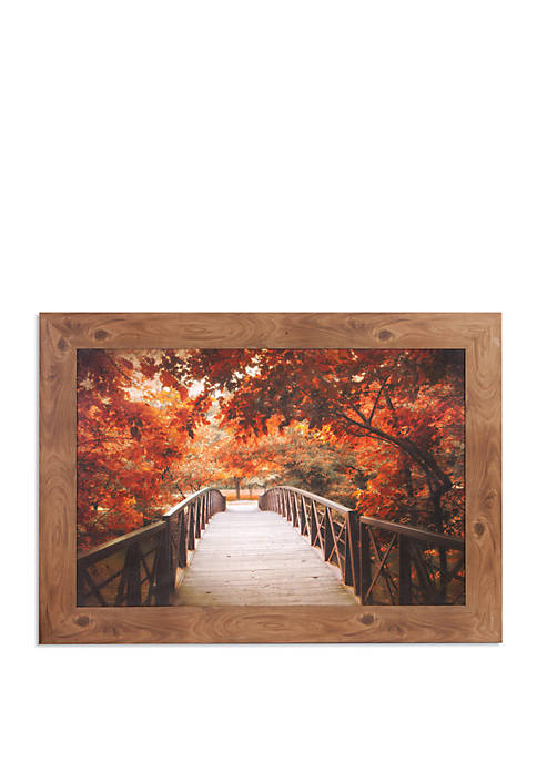 Fall Footbridge Photography Framed Canvas Art