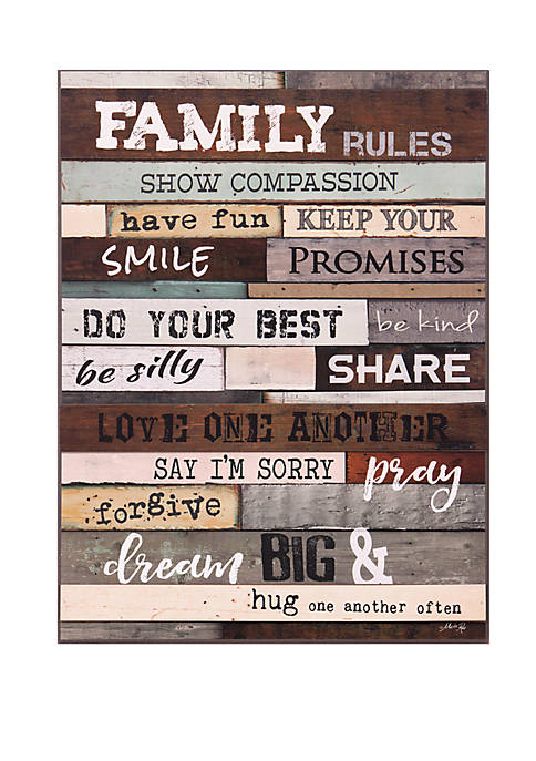 Patton Picture Family Rules Wood Wall Art