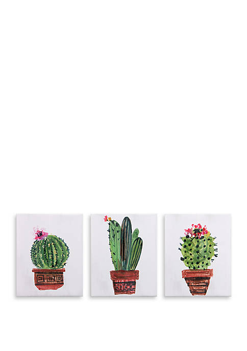 8 x 10 Minimalist Potted Cactus Painting, Set of 3 Canvas Art