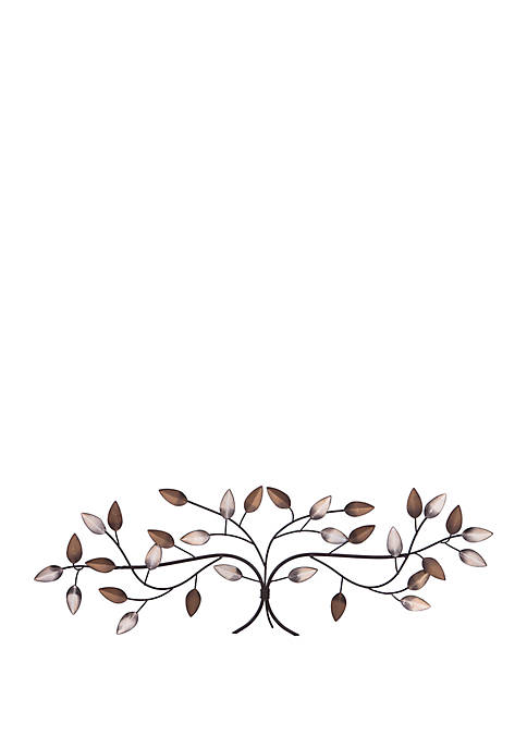 Bronze Tree Branch with Gold and Silver Leaves Metal Wall Decor