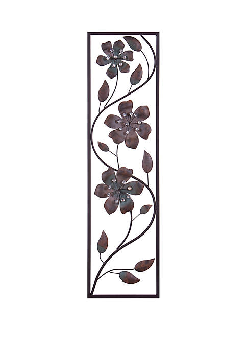 Patton Picture Bronze Jeweled Flower Vine Decorative Metal