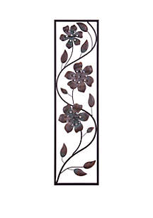 Patton Picture Bronze Jeweled Flower Vine Decorative Metal Wall Decor