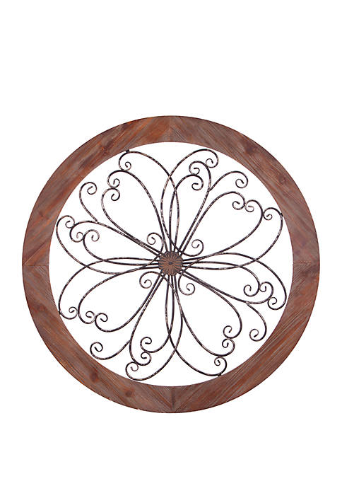 Rustic Round Wood and Metal Decorative Scroll Wall Decor