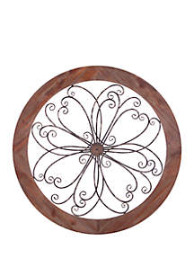 Patton Picture Rustic Round Wood and Metal Decorative Scroll Wall Decor