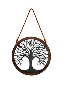 Patton Picture Rustic Round Wood and Patina Decorative Tree Wall Decor
