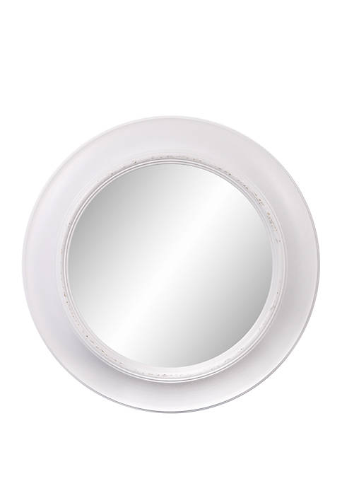 24 Rustic Round Mirror in Distressed White